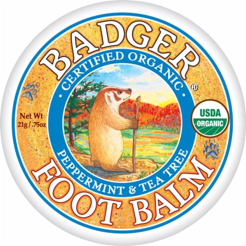 Badger Organic Peppermint & Tea Tree Foot Balm Perspective: front