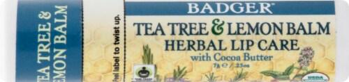 Badger Organic Tea Tree & Lemon Herbal Lip Balm Perspective: front