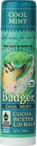 Badger Organic Cocoa Butter Cool Mint Lip Balm Perspective: front