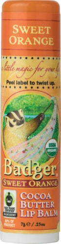 Badger  Organic Cocoa Butter Lip Balm   Sweet Orange Perspective: front