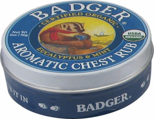 Badger Organic Eucalyptus & Mint Aromatic Chest Rub Perspective: front