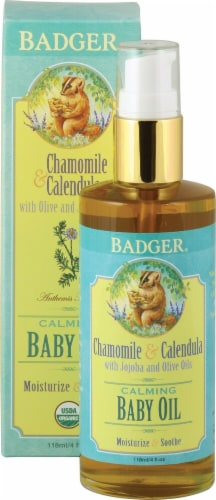 Badger  Chamomile & Calendula Calming Baby Oil Perspective: front