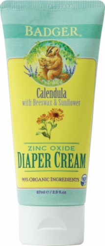 Badger Calendula With Beeswax & Sunflower Zinc Oxide Diaper Cream Perspective: front