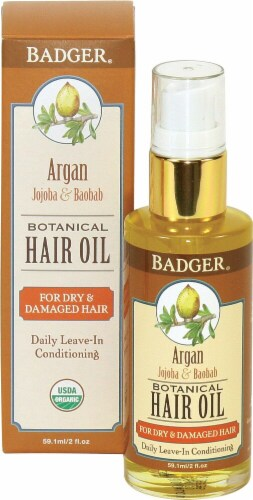 Badger   Argan Botanical Hair Oil - For Dry & Damaged Hair Perspective: front