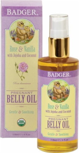 Badger  Pregnant Belly Oil Rose & Vanilla Perspective: front