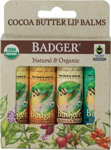 Badger  Natural & Organic Lip Balms Variety Perspective: front