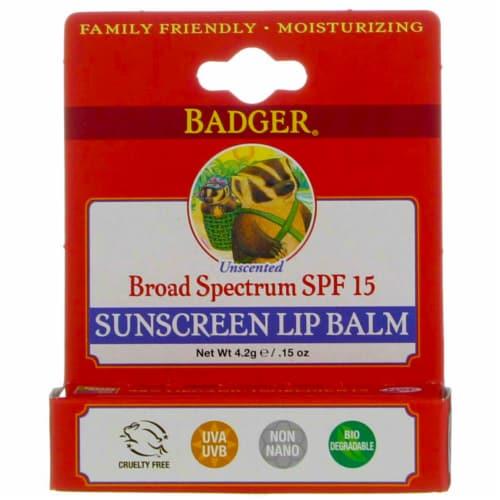 Badger Sunblock Lip Balm Water Resistant 15 SPF, 0.15 Ounces Perspective: front