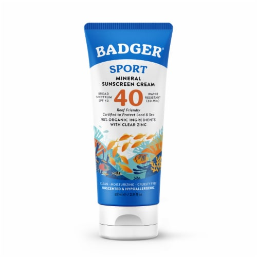 Badger Unscented & Hypoallergenic Clear Zinc Sunscreen Cream SPF 40 Perspective: front