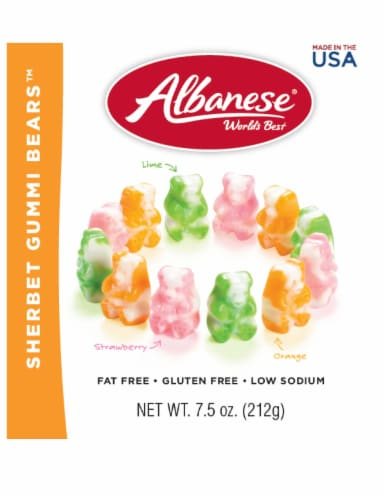 Albanese Sherbet Gummi Bears candy Perspective: front