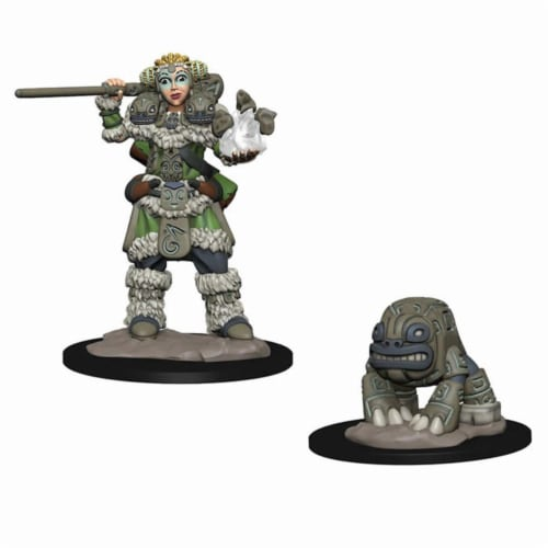 WizKids WZK73314 Girl Druid & Stone Creature Miniatures Pre-Painted Minis Wardlings Perspective: front