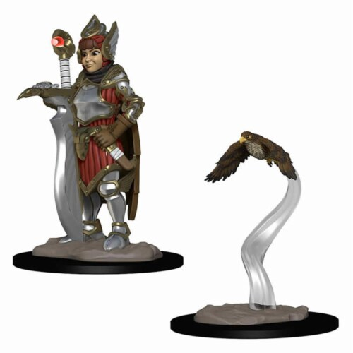 WizKids WZK73315 Girl Fighter & Hunting Falcon Miniatures Pre-Painted Minis Wardlings Perspective: front