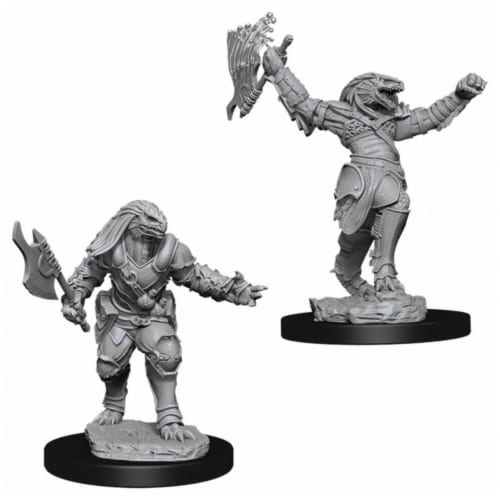 WizKids WZK90001 Dungeons & Dragons Nolzurs Marvelous Unpainted Female Dragonborn Fighter W11 Perspective: front