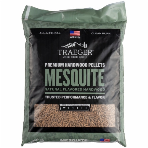 Traeger Wood Fire Grills All-Natural Mesquite Wood BBQ Pellets Perspective: front