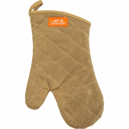 Traeger 8687089 Canvas BBQ & Grill Mitt, Brown Perspective: front