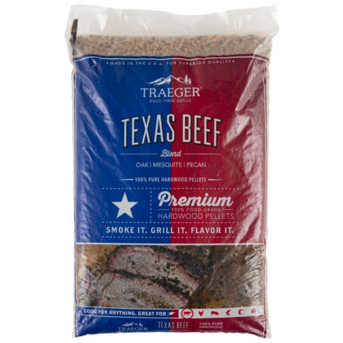 Traeger Wood Fire Grills Texas Beef Blend Hardwood Pellets Perspective: front