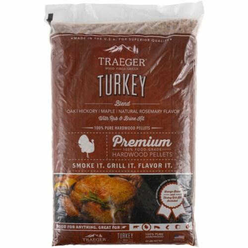 Traeger Wood Fire Grills Turkey Blend Hardwood Pellets Perspective: front