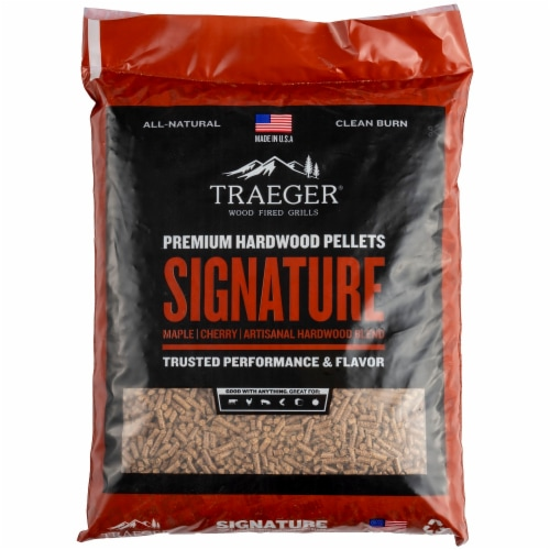 Traeger Wood Fire Grills Signature Blend Hardwood Pellets Perspective: front