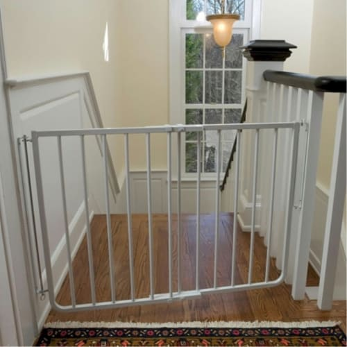 Stairway Special Pet Gate - White Perspective: front