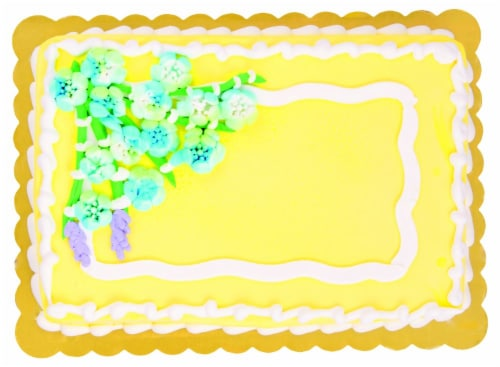 Flower Bouquet Wave White Cake with Whipped Icing Perspective: front
