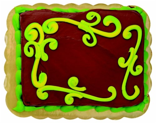 Green Scroll Chocolate Cake with Buttercream Icing Perspective: front