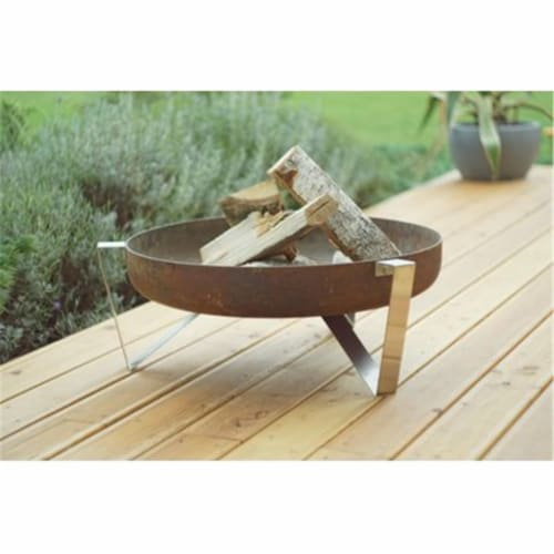 Curonian Agila Wood Burning Fire Pit Diameter 25  combination of Rusting and Stainless steel Perspective: front