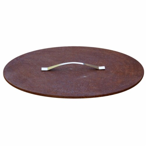 Curonian 6M-PJEW-Z0H1 31 in. Fire Pit Steel Cover with Lid Perspective: front