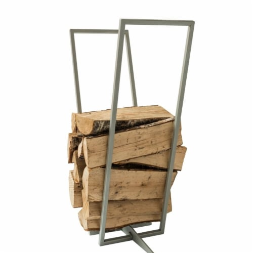 Curonian LRPlainS Transparent Firewood Rack - Silver & Grey, 8.7 x 31.5 x 31.5 in. Perspective: front