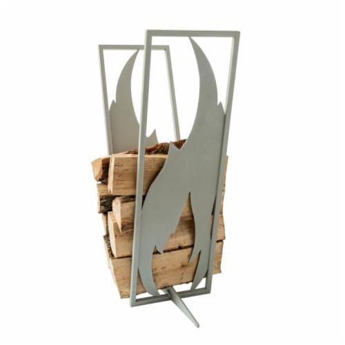 Curonian LRFlameS Flame Firewood Rack - Silver & Grey, 31.5 x 10 x 20 in. Perspective: front