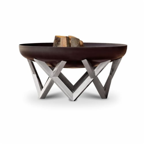 Curonian 95Rock 37.4 in. Combination of Rusting & Stainless Steel Vingis Fire Pit Perspective: front