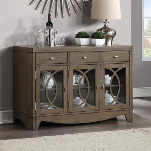 Bordeaux Toffee Brown 3-drawer Server Perspective: front