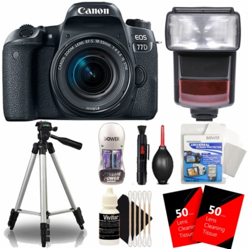 Canon Eos 77d 24.2mp Dslr Camera With 18-55mm Lens , Ttl Flash And Accessories Perspective: front