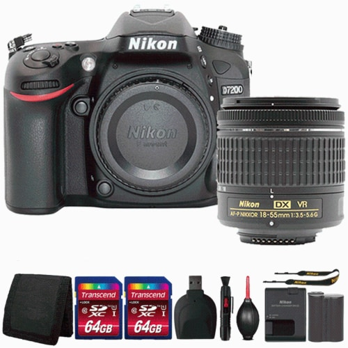 Nikon D7200 Digital Slr Camera With 18-55mm Lens And Top Accessory Kit Perspective: front