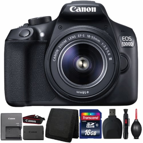 Canon Eos 1300d/t6 Dslr Camera With 18-55mm Iii Lens And Accessories Perspective: front