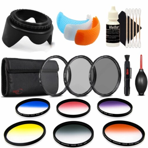 52mm Color Filter Kit With Accessory Kit For Nikon D7200 , D5600 And D5300 Perspective: front