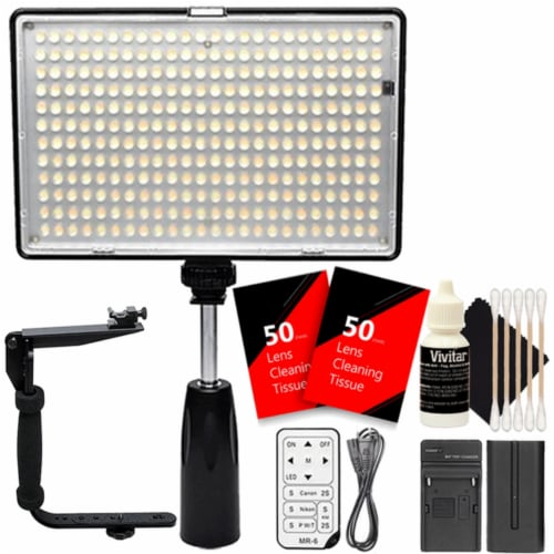 Vivitar 288 Led 1400 Lumens Video Light With Accessory Bundle Perspective: front