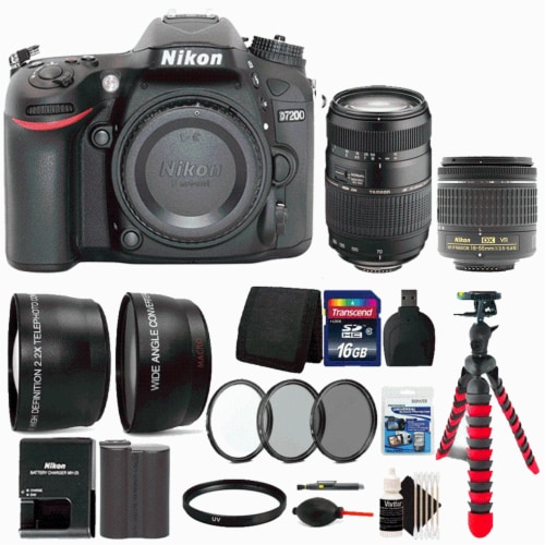 Nikon D7200 Dslr Camera With 18-55mm Lens, 70-300mm Lens And Accessory Kit Perspective: front
