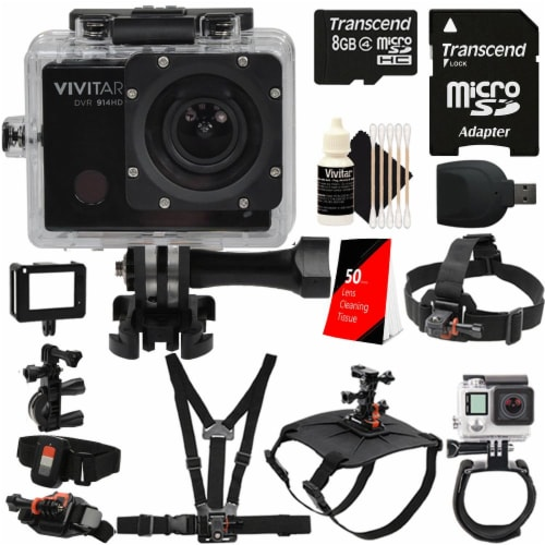 Vivitar Dvr914hd 1440p Hd Wi-fi Waterproof Action Video Camera Camcorder With Accessory Kit Perspective: front
