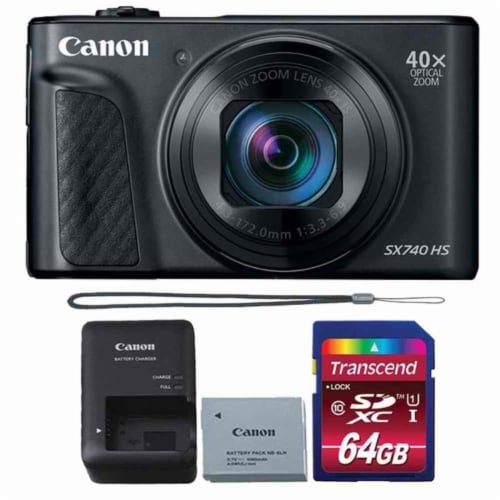 Canon Powershot Sx740 Hs Digital Camera (black) + 64gb Memory Card Perspective: front