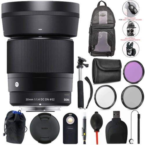 Sigma 30mm F/1.4 Dc Dn Contemporary Lens For Sony E + Complete Accessory Bundle Perspective: front