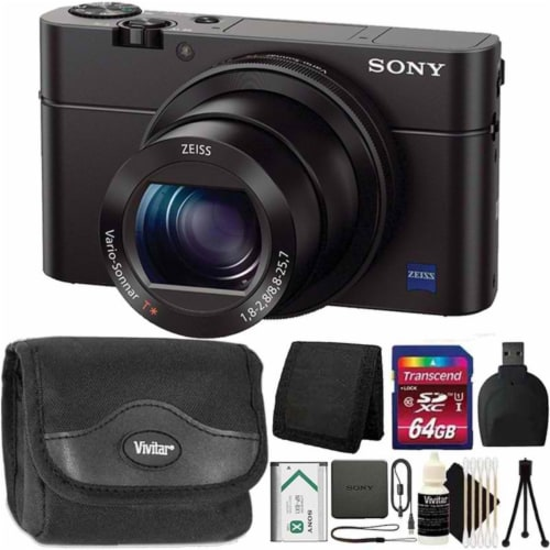 Sony Cyber-shot Dsc-rx100 Iii Digital Camera + 64gb Memory Card + Accessory Kit Perspective: front