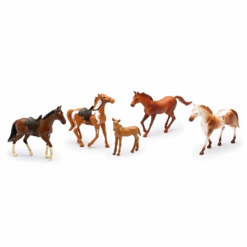 Country Life Farm Animal Set, Five Horses With/Without Saddles (05593F) Perspective: front
