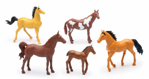 Country Life Farm Animal Set, Five Horses Without Saddles (05593D) Perspective: front