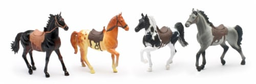 Country Life Farm Animal Set, Four Horses With Saddles (05593E) Perspective: front