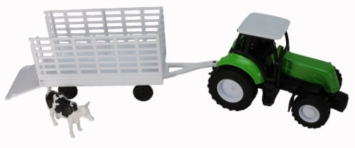Green Farm Tractor with Attachable Cattle Trailer Perspective: front
