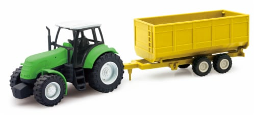 Green Farm Tractor with Attachable Crop Trailer Perspective: front