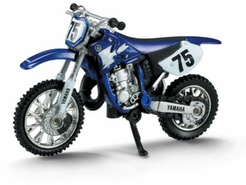 Die-Cast Blue Yamaha YZ 125 Dirt Bike, 1:32 Scale Perspective: front