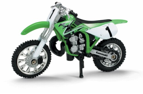 Die-Cast Green Kawasaki KK 250 Dirt Bike, 1:32 Scale Perspective: front