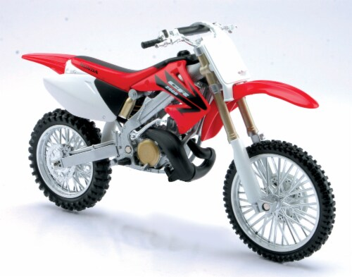 Die-Cast Red Honda CR250R Dirt Bike, 1:32 Scale Perspective: front
