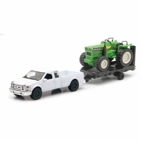 White Ford F-250 Super Duty with Attachable Tractor on Trailer Perspective: front