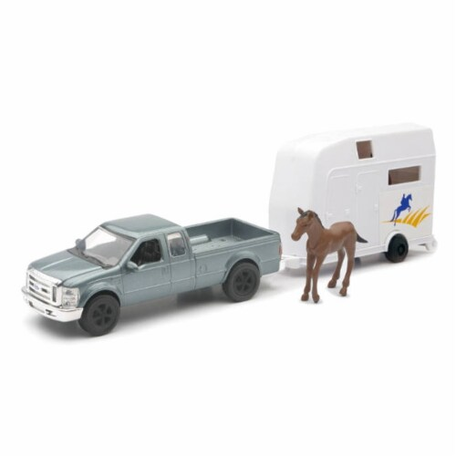 Grey Ford F-250 Super Duty with Attachable Horse Trailer Perspective: front